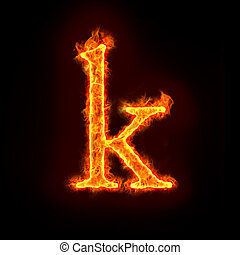 fire alphabets, small letter k - fire alphabets in flame,...