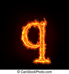 fire alphabets, small letter q - fire alphabets in flame,...