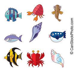 caricatura, peixe, ícones