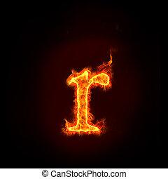 ogień, Abecadła, Mały, litera, R