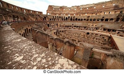 Colosseum arena area and the tunnels under it, walls divide...