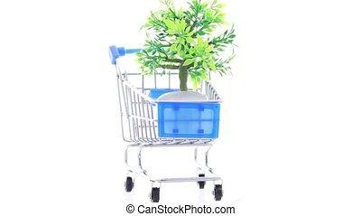 Artificial ornamental plant in flowerpot inside shopping trolley, composition rotates counterclockwise