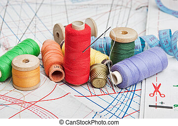 Sewing on the background pattern