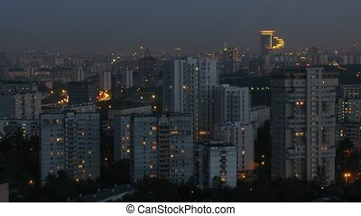 Sokolniki District at night, view from roof, time lapse