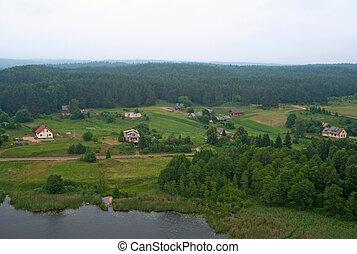 Lithuanian countryside - Birdseye view of Lithuanian...