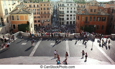 Tourists on Spanish Steps (Italian: Scalinata della Trinit?...