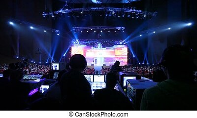 People sit at control panel Big Digit - 2011 awards ceremony...