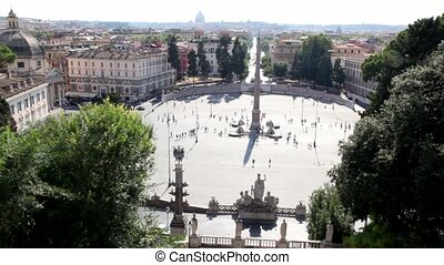 View of city from above, Piazza del Popolo with obelisk on it and people walk