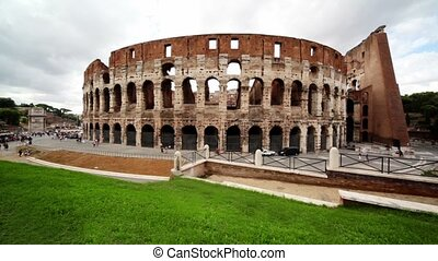 Colosseum facade and are near, peop