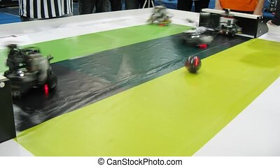 Robots play football during ROBOFEST-2011 - MOSCOW - APR 9:...