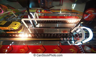 slot machine close-up with flashing bulbs and car - colorful...