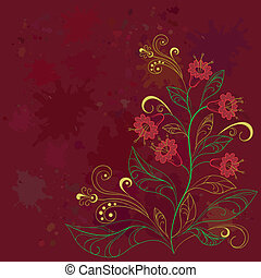 Background with contours flowers