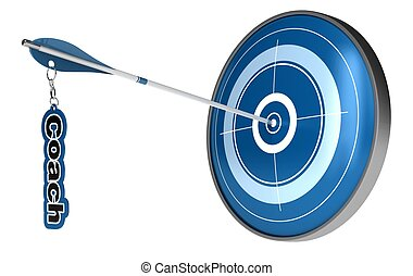Arrow hitting the center of a target. The word coach is...