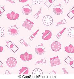Cosmetics seamless pink pattern or