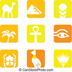 Egypt icons and design elements block isolated on white