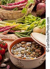 Zuppa di verdure con ambientazione