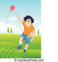 Playing Kite - Cartoon illustration of a boy playing a kite,...