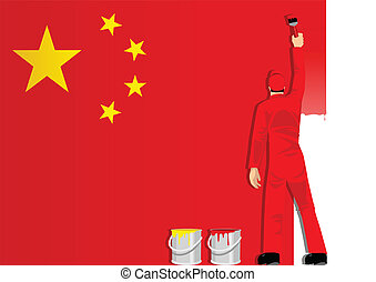 Painting The China Flag - Illustration of a man figure...
