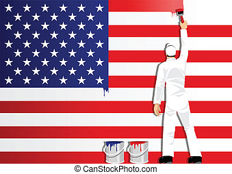 Painting The USA Flag