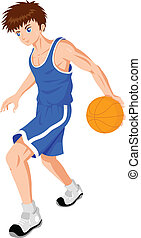 Basket Ball Player - Cartoon illustration of a teenager...