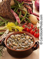 Ambientazione di zuppa di verdure