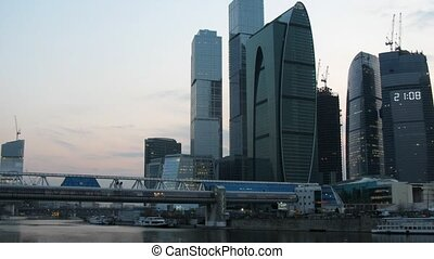 Moscow International Business Center at evening, zoom out...