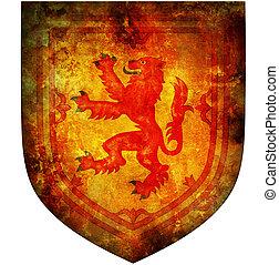 national emblem of scotland - old isolated over white coat...
