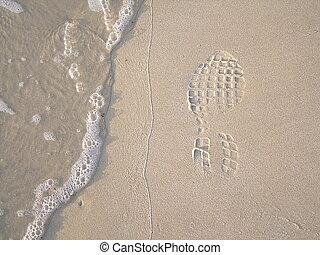 Footprint on the beach sand