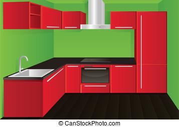 Red kitchen - Original modern red kitchen design