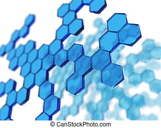 chemistry image - 3D rendering of blue transparent hexagons
