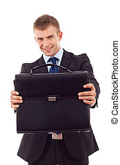 business man offering case - young business man offering a...