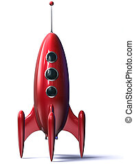 Red Rocket - 3D rendering of a red rocket isolated on the...