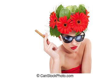 smoking hot young woman - young beautiful woman wearing a...