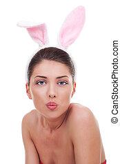woman wearing cute bunny ears - beautiful young woman...