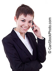 Business woman on the phone isolated against white...