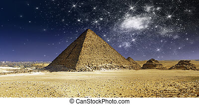 Night over Cheops Pyramid, Egypt