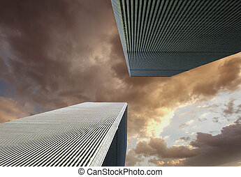Sky Colors over New York and Twin Towers, USA