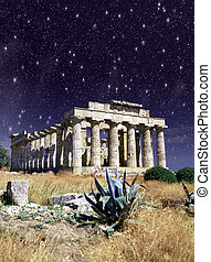 Night Colors over Selinunte Temple in Sicily, Italy