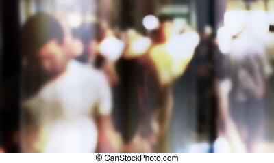 Crowd, slow motion, lens bokeh