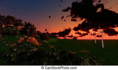 Green landscape sunset