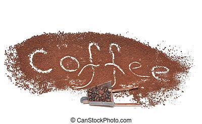 miniature, modèle, brouette, rempli, café, haricots