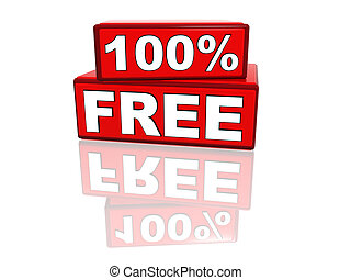 100 percent free - 3d red boxes with text 100 percent free