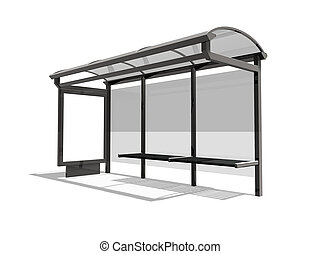 Bus stop - 3d illustration of Bus stop on the white...