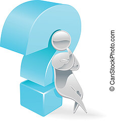 Metallic character question mark co - Metallic cartoon...