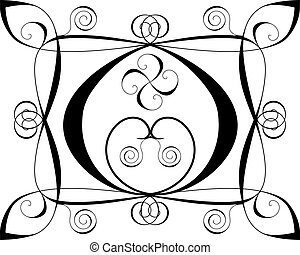 Design background with hearts and spirals on white