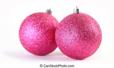 Three christmas tree balls rotate - Three christmas pink...