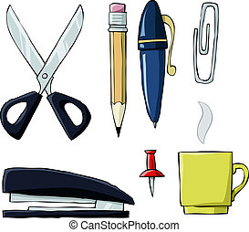 Office tools on white background, vector illustration