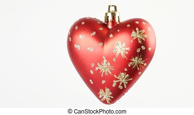 Close-up view of Christmas tree heart rotate - Close-up view...