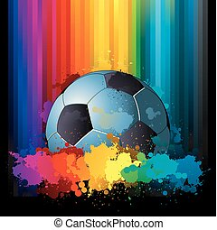 Soccer background - colorful rainbow soccer background