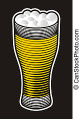 Beer pint illustration with woodcut shading on black...